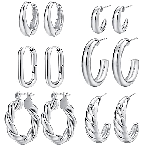 Silver Chunky Hoop Earrings Set for Women, 14K Gold Plated Lightweight Hypoallergenic Thick Open Hoops Set for Gift