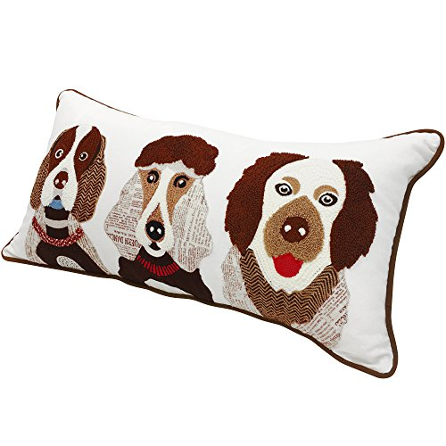 """Blueberry Pet Home 2 Patterns 100% Cotton Indoor/Outdoor Rectangular Decorative Cushion Throw Pillow with Insert and Case for Couch, 23.5"""" x 12"""", The Best Gang Pups Embroidered Designer Toss Pillow"""