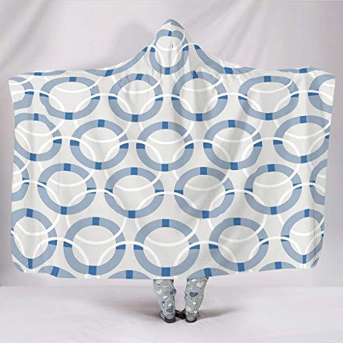O5KFD&8 Tragbare Decke Original Hooded Blanket Grafik Geometrie Themen Gedruckt Kapuzendecke Sherpa Tragen Decke - Geometrie für Mittagspause Verwenden White 150x200cm