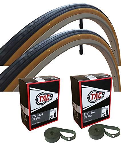 TAC 9 – 27x1-1/4 Neumático de Bicicleta, Tubo y Tira de llanta – Seleccione Gum Wall o Pared Negra