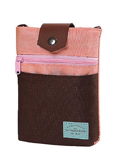 パスポードケース 斜め掛けショルダーバッグ 多機能 トラベルバッグ ミニポーチ メンズ レディース 出張 旅行 携帯に便利 お財布バッグ スマホ/小物入れポーチ 韓国風 おしゃれ 旅行グッズ コーヒー色+ピンク