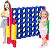 GLACER Giant 4-in-A-Row, Jumbo 4-to-Score Giant Game Set Backyard Games for Kids & Adults, 3.5FT Tall Indoor & Outdoor Connect-All-4 Game Set with 42 Jumbo Rings & Quick-Release Slider