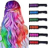 Tiza para el cabello para niñas y niños, color temporal brillante, peine de tiza para el cabello, lavable, no tóxico, tinte para el cabello para Halloween, Navidad..
