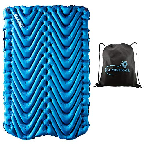 Klymit Double V Sleeping Pad 2 Person Inflatable Pad for Camping Bundle with a Lumintrail Drawstring Bag