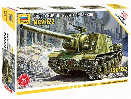 Zvezda 500785054 ISU-122 Sov.Self Propelled Gun WWII-Maqueta de construcción de plástico, para Principiantes, detallado, Color Verde Oliva (5054)