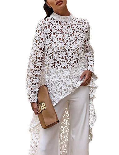 PRETTYGARDEN Women's Lantern Long Sleeve Round Neck High Low Asymmetrical Irregular Hem Casual Tops Blouse Shirt Dress (101088 White, X-Large)