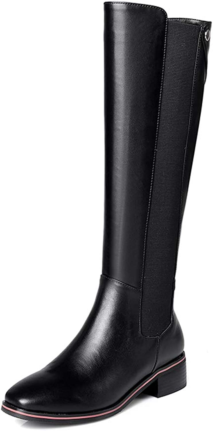 Boots Women with Thick with Square Head Elastic Tube Comfortable High Boots 2018 New Winter Plus Velvet Size Women's Boots Riding Boots