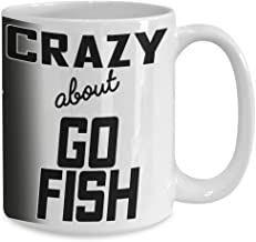 Crazy About go Fish Coffee Mug Gift for Card Game Player Fan Winner Big 11oz Ceramic Tea Cup