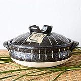 Cuociriso multifunzione Donabe Pentola calda giapponese, Casseruola in ceramica resistente al calore con coperchio, Pentola per cuocere il riso in argilla, Casseruola rotonda, Pentola di ter