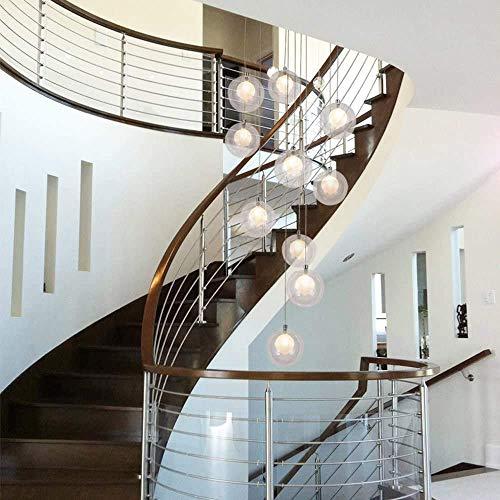 BUNUMO 10 Luces múltiples de Bolas de Cristal, luz Colgante Creativa Moderna, Escalera de Caracol de apartamento dúplex, lámpara de Techo Larga para Sala de Estar, Villa