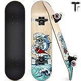 Skateboard Completo, Funxim Tabla de Skateboard 31 x 8 Pulgadas 4 Ruedas 7 Capas Madera de Arce Doble Patada Rueda...