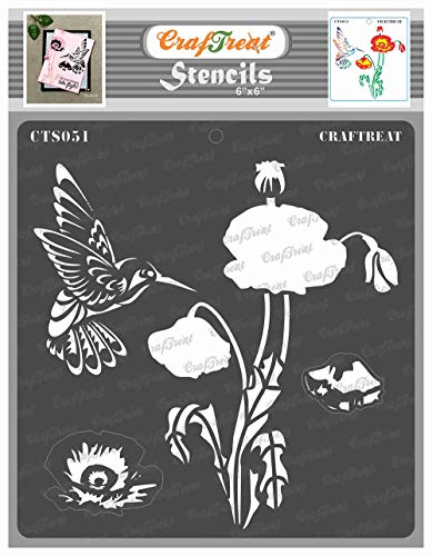 CrafTreat Layered Stencil - Poppy - Reusable Painting Template for Journal, Notebook, Home Decor, Crafting, DIY Albums, Scrapbook and Printing on Paper, Floor, Wall, Tile, Fabric, Wood 6x6 inches