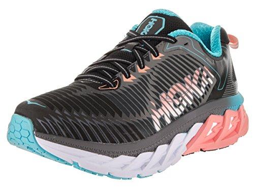 HOKA ONE ONE Womens Arahi Black/Peach Amber Running Shoe - 6 M
