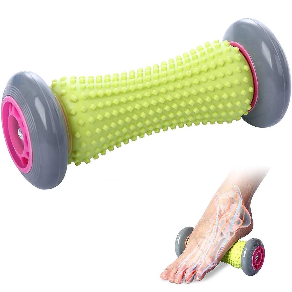アミューズ標準側溝タイトな筋肉を回復させるための背中と足の痛みの治療のためのペダルマッサージホイール指圧足の筋膜炎足のマッサージ(16.5Cm * 6.5Cm)