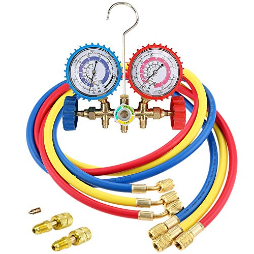 LIYYOO Air Conditioning Refrigerant Charging Hoses with Diagnostic Manifold Gauge Set and 2 Quick Coupler for R410A R22 R404 Refrigerant Charging,1/4\