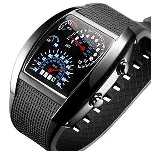 BulkCosts (TM Montre digitale à rétroéclairage LED style militaire, montre-bracelet de sport avec cadran pour homme Noir