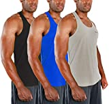 DEVOPS 3 Pack Men's Y-Back Dri Fit Muscle Gym Workout Tank Top (Large, Black/Blue/Gray)