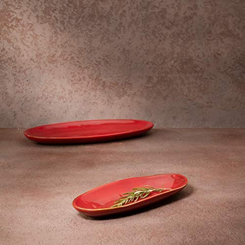 """Picante Oval Ceramic Platter 11.5"""" X 5.5"""" X 1"""" Red"""