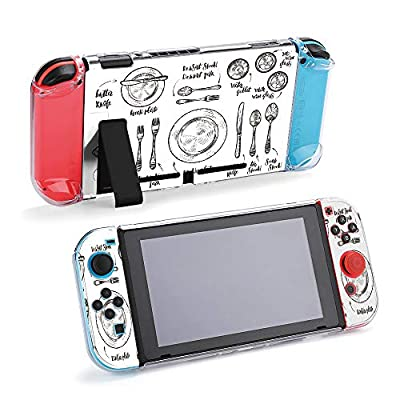 SUPNON Carry Case Compatible with Nintendo Switch, Ultra Slim Hard Shell, Protective Carrying Case for Travel - Hand Drawn Cutlery Illustration Design15762