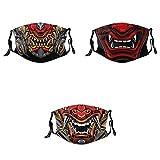 Evil Demon Monster Kabuki Samurai Hannya Oni Men Women's Hannya Face Mask 3PCS Adjustable Reusable Face Mask with Adjustable EarLoops Bandana Balaclava-3