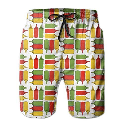 Ye Hua Ketchup, Senape e Bottiglie Relish_29981 Shorts da Uomo Shim Trunks Surf Beach Holiday Party Costume da Bagno Pantaloncini da Spiaggia XXL