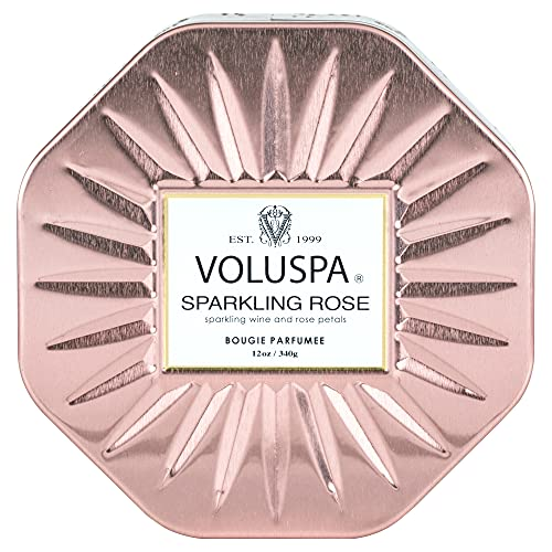Voluspa Sparkling Rose Candle | 3 Wick Tin | All Natural Wicks and Coconut Wax for Clean Burning | 12 Oz.