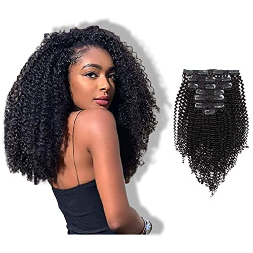 ABH AmazingBeauty Hair 8A 100 Remy 3C and 4A Kinkys Curly Clip in Human Hair Extensions, Real Thick, Double Weft,...