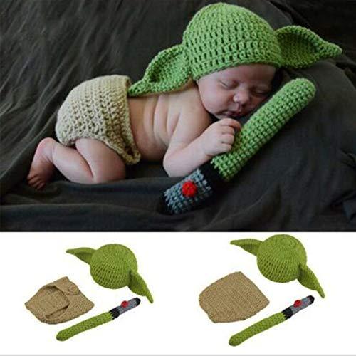 Conjuntos de Accesorios de fotografía para bebés, Conjunto de Trajes de Yoda de Punto de Ganchillo Hecho a Mano para fotografía de recién Nacidos