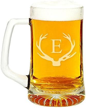 Antler Initial Glass Beer Mug 15 ounce Letter E product image