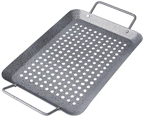 Rustler Grillschale rechteckig aus Eisenstahl mit Antihaftbeschichtung | Grillpfanne in Steinoptik | Grillkorb für Gemüse, Fisch oder Meeresfrüchte | 35 x 18,5 x 3 cm | für Backofen und alle Grills