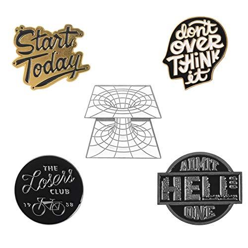 SHAOWU Zitat Slogan Emaille Pin Film Fahrrad Club Denken Sie Nicht über Abzeichen Broschen Dreidimensionale Raum Anstecknadeln Hemd Tasche Schmuck gemischt3