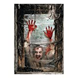 Zombie Window Backdrop Banner (2pc) Scary Halloween Home Decor