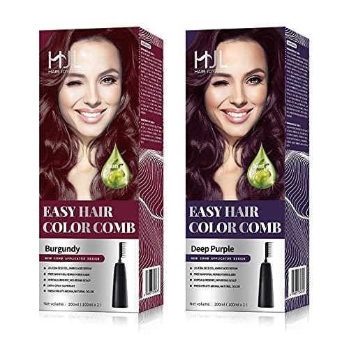 HJL Hair Color Ammonia Free with Comb Applicator Permanent Hair Dye Cream Hair Coloring Kit, Deep Purple & Burgundy