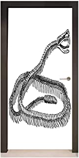 Reptile Door Wallpaper Black and White Reptile Skeleton Illustration Moving on The Ground Wild Exotic Snake for Home Room Decoration Black White,W17.1xH78.7