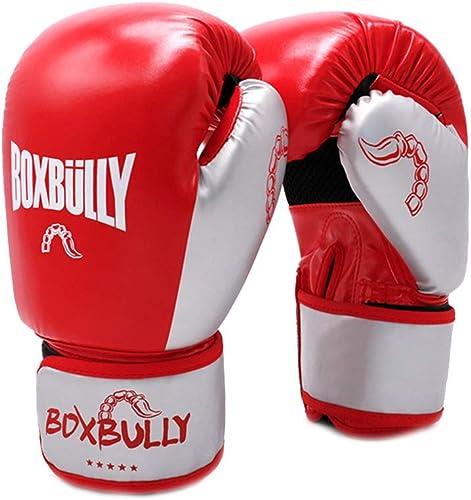 WSHMQJST Gants de Boxe Sanda Gants de Boxe Rouges, Gants de Sacs de Sable, Gants de Combat Professionnels Muay Thai