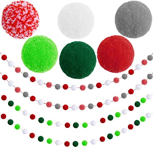 Aneco 4 Pack Christmas Felt Ball Garland Christmas Garland Decorations 80 Pompom Balls Christmas Hanging Bunting Ornament for Tree Fireplace and Wall
