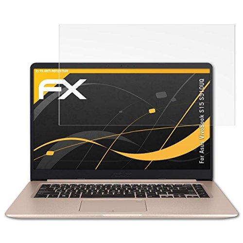 atFolix Panzerfolie kompatibel mit Asus VivoBook S15 S510UQ Schutzfolie, entspiegelnde & stoßdämpfende FX Folie (2X)