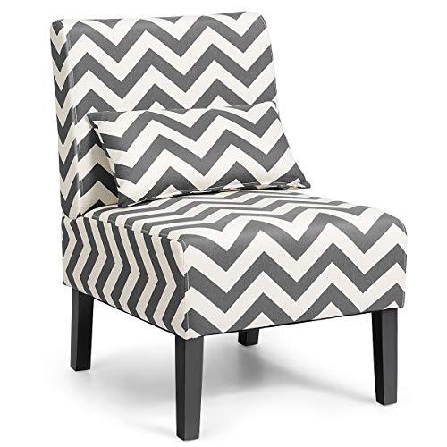 RELAX4LIFE Relaxstuhl, Loungesessel mit Rückenlehne, ergonomischer Relaxsessel mit Kissen, Freizeitstuhl für Wohnzimmer & Schlafzimmer & Esszimmer, Polsterstuhl bis zu 150 Kg belastbar, grau+weiß