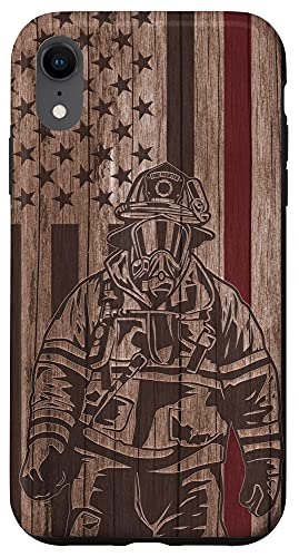 iPhone XR Wood Fireman American Flag Thin Red Line US Firefighter Gift Case