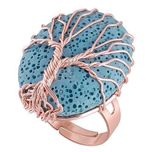 Jovivi Anillo ajustable de metal con árbol de la vida y piedra preciosa, color claro, regalo para mujer Lava Azzurra