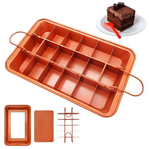 Brownie Pan with Dividers, 18-Cavity and 12 by 8 inches, Non-stick Divided Brownie Pan/Precut Brownie Pan with Removable Loose Bottom for Professional Slices, Easy to Release