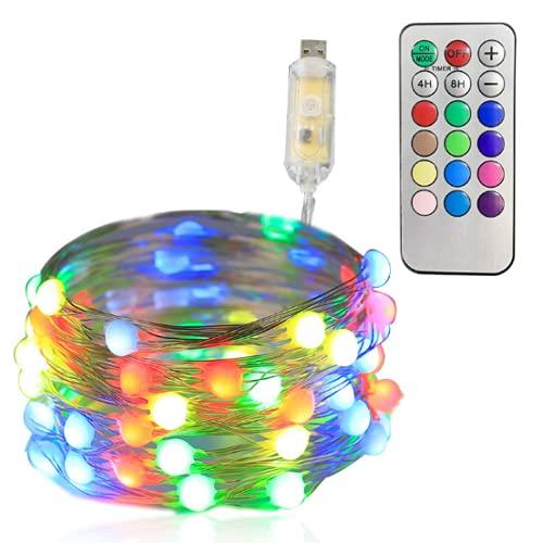 Wandskllss Cinta de LEDs Usb Cadena de Luz de Interior Para Luces de Navidad Cadena de Luces de Habitación Adolescente Color 15M150 Luces