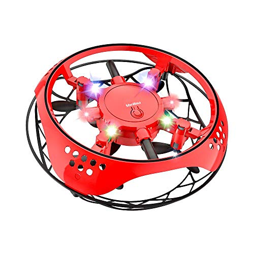 Mini Drone for Kids, Hand Operated Induction Aircraft Intelligent Induction Quadcopter, Gesture-Sensing Helicopter with LED Light, Indoor Kids Flying Toy Drone with Automatic Sensing Obstacle