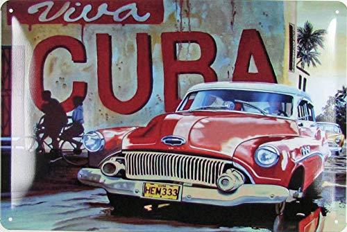 Blechschild 20x30cm gewölbt Viva Cuba Oldtimer Car Auto Kuba Retro Deko Geschenk Schild