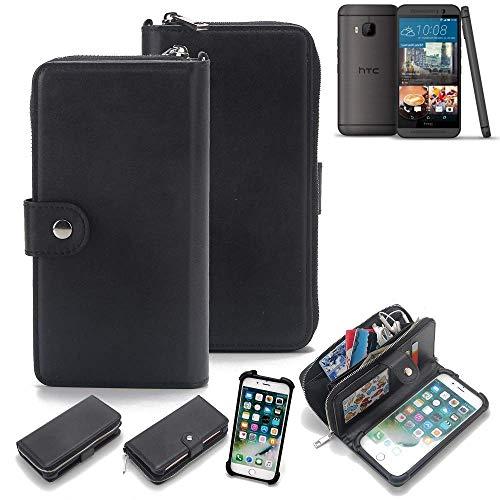 K-S-Trade 2in1 Handyhülle Für HTC One M9 (Prime Camera Edition) Schutzhülle und Portemonnee Schutzhülle Tasche Handytasche Hülle Etui Geldbörse Wallet Bookstyle Hülle Schwarz (1x)