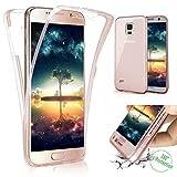 Funda Compatible Samsung Galaxy S4.KunyFond Carcasa Delgado Frontal Trasera 360 Grados Silicona 3 en 1 Estructura A Prueba Golpes Incluido TPU Gel Transparente Bumper Completo Anti Rasguno-Oro Rosa