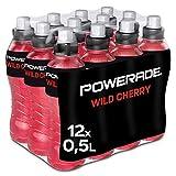 Powerade Sports Wild Cherry, Iso Drink mit Elektrolyten - als erfrischendes, kalorienarmes Sportgetränk oder als Power Drink für zwischendurch, EINWEG Flasche (12 x 500 ml)
