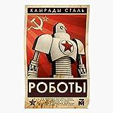 Retro Futurama Cold War Soviet Propaganda Robot Cccp RussianImpresionantes carteles para la...