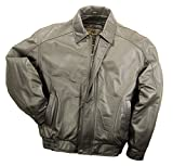 REED Men's American Style Bomber Genuine Leather Jacket (XL, Brown) by REED