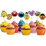 24PCS Sesame Inspired Street Cupcake Topper for Birthday Party Supplies Elmo Cake Topper Cookie Monster Cake Decoration